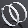 Large White Enamel Hoop Earrings - 6cm Diameter