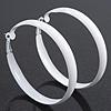 Large White Enamel Hoop Earrings - 6cm Diameter