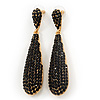 Luxury Black Crystal Teardrop Earrings In Gold Plating - 7.5cm Length