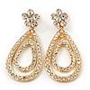 Bridal Swarovski Crystal Open Cut Teardrop Earrings In Gold Plating - 6cm Length