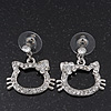 Cute Open Cut Diamante 'Kitten' Drop Earrings In Rhodium Plating - 3cm Length