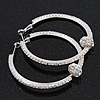 Clear Crystal With Ball Hoop Earrings In Rhodium Plated Metal - 5.5cm Diameter