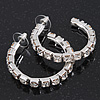 Medium Austrian Crystal Hoop Earrings In Silver Metal - 4.5cm D