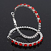 Red/Clear Swarovski Crystal Hoop Earrings In Rhodium Plating - 5.5cm Diameter