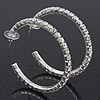 Classic Austrian Crystal Hoop Earrings In Rhodium Plating - 5.5cm D