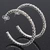 Classic Austrian Crystal Hoop Earrings In Rhodium Plating - 5.5cm D