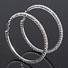 Austrian Crystal Hoop Earrings In Rhodium Plating - 6cm D