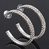 2-Row Clear Swarovski Crystal Hoop Earrings In Rhodium Plating - 5cm Diameter