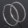 Large Austrian Clear Crystal Hoop Earrings In Rhodium Plating - 6cm Diameter