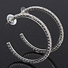 Classic Ice Clear Austiran Crystal Hoop Earrings In Rhodium Plating - 5.5cm D