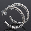 Medium Classic Austrian Crystal Hoop Earrings In Rhodium Plating - 4.5cm D
