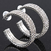 Three-Row Clear Crystal Hoop Earrings In Rhodium Plated Metal - Medium (4.5cm Diameter)
