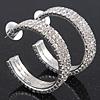 Three-Row Clear Swarovski Crystal Hoop Earrings In Rhodium Plated Metal - Medium (4.5cm Diameter)