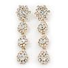 Long Bridal Crystal Floral Drop Earrings - 8.5cm Length