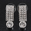 Clear Crystal 'I' Shape Stud Earrings In Silver Plating - 2.5cm Length