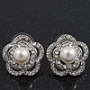 Classic Crystal Faux Pearl Flower Stud Earrings In Rhodium Plating - 2cm Diameter
