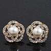Gold Plated Diamante Faux Pearl Flower Stud Earrings - 2cm Diameter