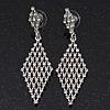 Clear Swarovski Crystal Diamond Shape Drop Earrings In Rhodium Plating - 6.5cm Length