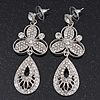 Stunning Swarovski Crystal Filigree Drop Earring In Silver Plating - 6.5cm Length