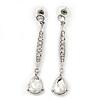 Silver Plated CZ Linear Drop Earrings - 6.5cm Length
