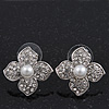 Clear Crystal Simulated Pearl Flower Stud Earrings In Silver Plating - 2cm Diameter