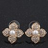 Clear Crystal Pearl Flower Stud Earrings In Gold Plating - 2cm Diameter