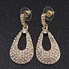 Bridal Crystal Teardrop Earrings In Gold Plating - 4cm Length