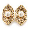 Exotic Diamante Faux Pearl Stud Earrings In Gold Plating - 2.5cm Length
