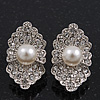Exotic Diamante Faux Pearl Stud Earrings In Rhodium Plating - 2.5cm Length