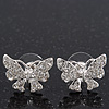 Rhodium Plated Clear Swarovski Crystals &#039;Butterfly&#039; Stud Earrings - 2cm Length