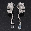 Delicate Clear Swarovski Crystal Butterfly Drop Earrings - 5.5cm Length
