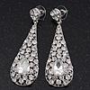Silver Plated Clear CZ Teardrop Earrings - 6.5cm Length