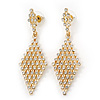 Clear Crystal Diamond Shape Drop Earrings In Gold Plating - 6.5cm Length