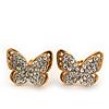 Gold Plated Swarovski Crystal 'Alegria' Butterfly Stud Earrings - 1.5cm