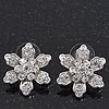 Rhodium plated Diamante 'Flower' Stud Earrings - 2.3cm Diameter