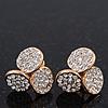 Gold Plated Swarovski Crystal 'Trinity Circles' Stud Earrings - 1.5cm