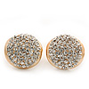 Gold Plated Crystal Dome Stud Earrings - 1.8cm Diameter