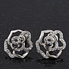 Silver Plated Swarovski Crystal 'Bella Rosa' Rose Stud Earrings - 1.5cm