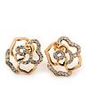 Gold Plated Swarovski Crystal 'Bella Rosa' Rose Stud Earrings - 1.5cm