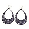 Woven Teardrop Statement Hoop Earrings (Dark Grey) - 10.5cm Length