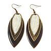 Vintage Milky White/Brown Enamel 'Leaf' Drop Earrings In Bronze Tone - 7cm Length