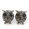 Small Dark Grey Diamante 'Owl' Stud Earrings In Black Tone Metal - 15mm Length