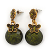 Delicate Olive Green Acrylic Bead Butterfly Drop Earrings In Antique Gold Metal - 4cm Length