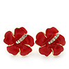 Hot Red Enamel Diamante 'Daisy' Stud Earrings In Gold Plating - 2cm Diameter