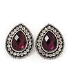 Burn Silver Purple Jewelled Teardrop Stud Earrings - 3cm Length