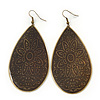 Long Dark Olive Enamel Teardrop Earrings In Bronze Metal - 9.5cm Length