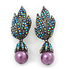 Swarovski Crystal 'Leaf' Purple Simulated Pearl Drop Earrings In Gun Metal Finish - 5.5cm Length