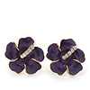 Deep Purple Enamel Diamante 'Daisy' Stud Earrings In Gold Plating - 2cm Diameter