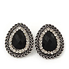 Burn Silver Black Jewelled Teardrop Stud Earrings - 3cm Length