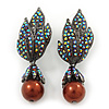 Swarovski Crystal 'Leaf' Metallic Brown Simulated Pearl Drop Earrings In Gun Metal Finish - 5.5cm Length
